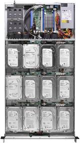 """Сервер высотой 1U для монтажа в 19"""" стойку STSS Flagman TX108.4-012LH вид сверху со снятой верхней панелью"""