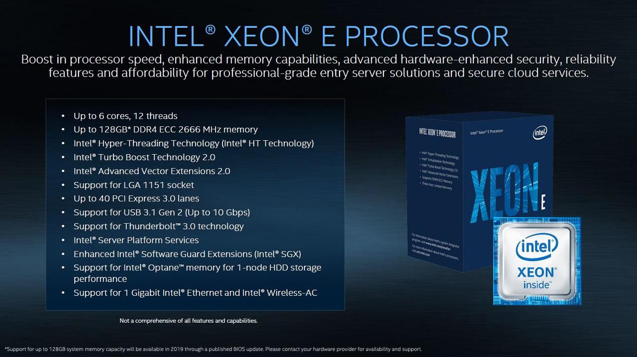 Список свойств процессора Intel Xeon E (Coffee Lake)